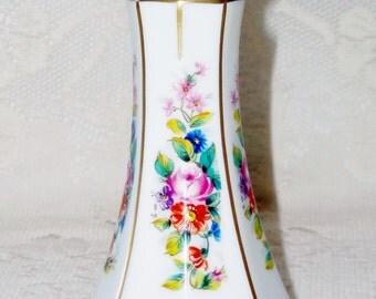 Vintage Lindner Kueps Bavaria Sanssouci Weiss Candle Holder, German Porcelain Handpainted Candle Holder, Lindner Kueps Bavaria