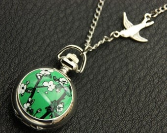 Necklace Pocket watch cherry (2222m)