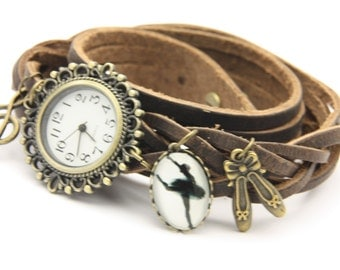 bracelet Brown leather ballet