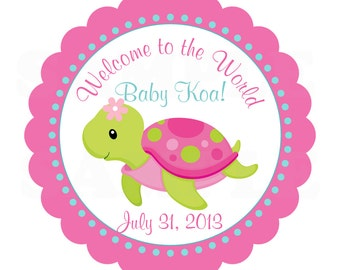 """Pink or Blue Under the sea Turtle- 5"""" Centerpiece -Printable File"""
