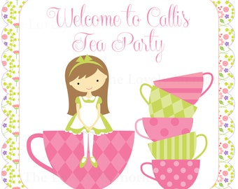 Birthday Door Sign- Princess or  Tea Party  Theme -DIY Printable