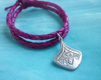 Moroccan vibrant pink leather strand bracelets with silver tribal engraved leaf charm