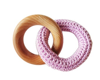 Crochet and natural wood baby teething ring / teether toy