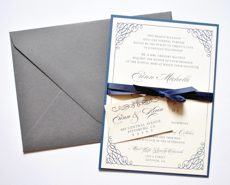 Navy Wedding Invitations: Navy And Grey Wedding Invitations Navy Grey Gray By