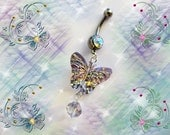 SALE-Belly Ring, Glittery Butterfly with Swarovski Crystal Belly Button Jewelry, For Women and Teens, Belly Jewelry For Women and Teens