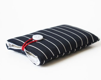case for iPhone, handmade, dark blue white striped fabric, phone case, 6S,4S, 4, 5