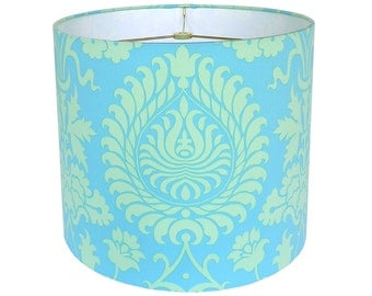 Drum Lamp Shade Lampshade Pendant Bali Gate by Amy Butler Turquoise Made to Order