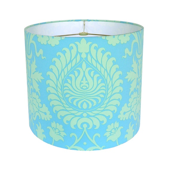 drum lamp shade lampshade pendant bali gate by amy butler turquoise. Black Bedroom Furniture Sets. Home Design Ideas