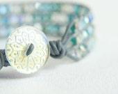 Leather Wrap Bracelet, Single Wrap Bracelet, Cuff Bracelet, Vintage Czech Button, Crystal Beads, Boho, Chic, Birth of Venus