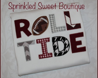 Custom Applique Alabama Roll Tide Football College NFL Team SEC Football Sports Shirt -Short or Long Sleeve Onesie Baby