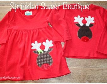 Custom Applique Girls Christmas Reindeer Empire Waist Cotton Knit Winter Dress Matching Brother Shirt