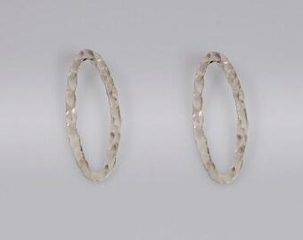 Oval-Sterling Silver Earrings  Hammered oval Earring Post earrings stud earrings