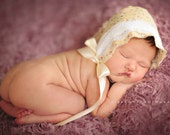 Newborn Calico And Lace Bonnet,Lavender and Mustard Newborn Baby Photography Prop ,Newborn Girl, Baby Girl Bonnet