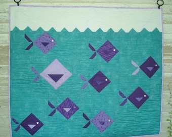 Fish Wall Hanging Quilt in Turqouise, Purple, White, and Gray....Nursery....Play Room... Childs Room