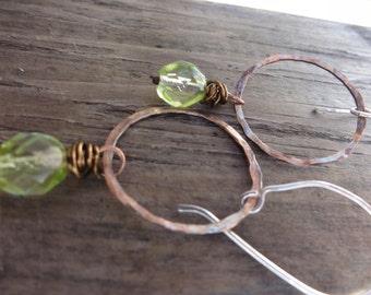 sale, copper hoop earrings,sterling silver and copper mix  hoop earrings,green copper earrings