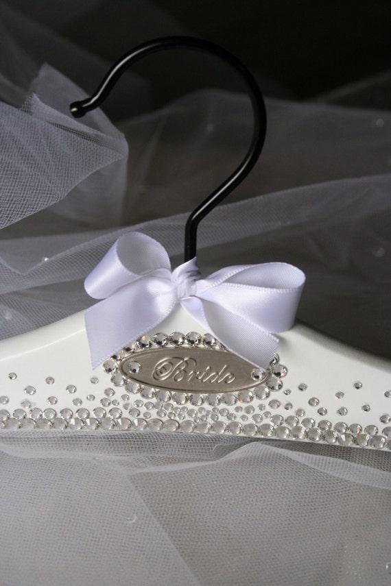 Bridal hanger wedding dress hanger personalized free genuine for Wedding dress hangers personalized
