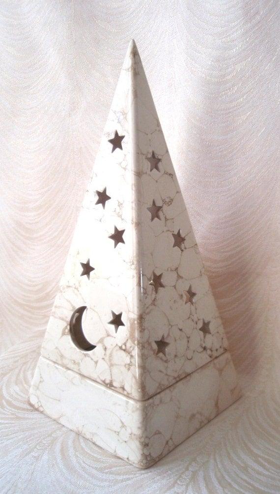 Vintage Partylite Moon Amp Stars Pyramid Tealite Candle Holder