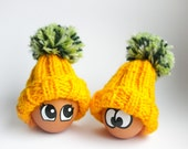 Egg Cozy Hat - Set of 2 Yellow and Green Egg Warmers - Easter Table Decor - Handmade Pom-Pom Hat - Spring Home Decor Egg hunt gift for kids