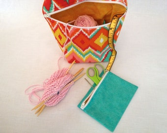 READY TO SHIP useful little bag, colorful ikat print with gold and turquoise