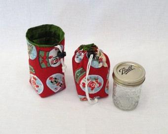READY TO SHIP Mason Jar Carrier Bag, Half Pint single Jars to Go Christmas print  cozy gift bag