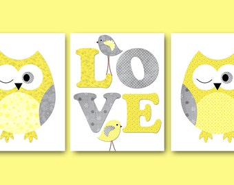 Kids Wall Art Owl Nursery Owl Decor Baby Nursery Decor Baby Boy Girl Nursery Kids Art Baby Room Decor Nursery Print set of 3 Yellow Gray /