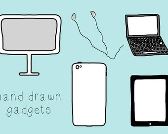 Hand Drawn Gadgets Clip Art - Instant Download - personal or commercial use - for blogs or websites