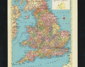 Vintage Map England Wales  From 1953 Original