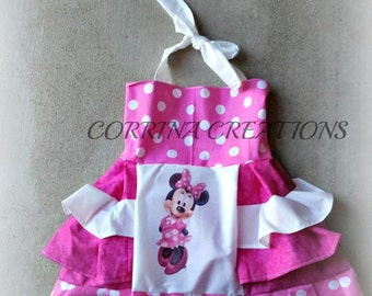 Minnie Mouse, OTT, Pageant, OOC, Boutique Style size Ruffle dress NB 3  6 9 12 24 months, size 2 3 4 5T