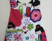 """Alexander Henry """"Kaori Kokeshi"""" fabric pinafore style apron size 2T"""