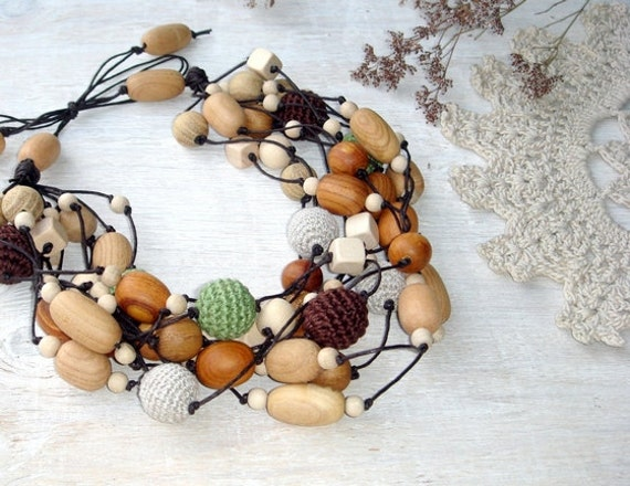 Multi strand Linen necklace,Boho jewelry,Nursing necklace,Earth necklace,Ethnic Tribal necklace,Gift for her,statement necklace