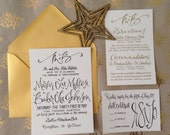 Wedding Invitation Gold Glamour