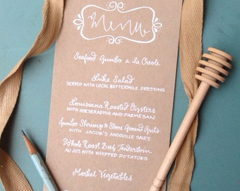 Menu Wedding Calligraphy White Ink Kraft Paper