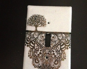 Tree of life light-switch plate, dorm room decor, nature inspired artwork