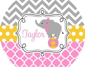 Personalized Melamine Plate Childrens Dinnerware Kids Elephant Plate Personalized Girl Plate