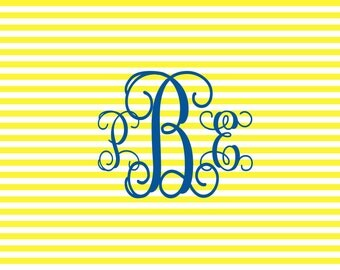 Monogrammed Placemat Personalized Placemat Custom Laminated Placemat Striped Placemat Choose Colors
