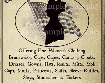 Primitive Colonial Clothing Co. Feedsack Logo Pantry Jar Crock Crate Book Label Jpeg Image