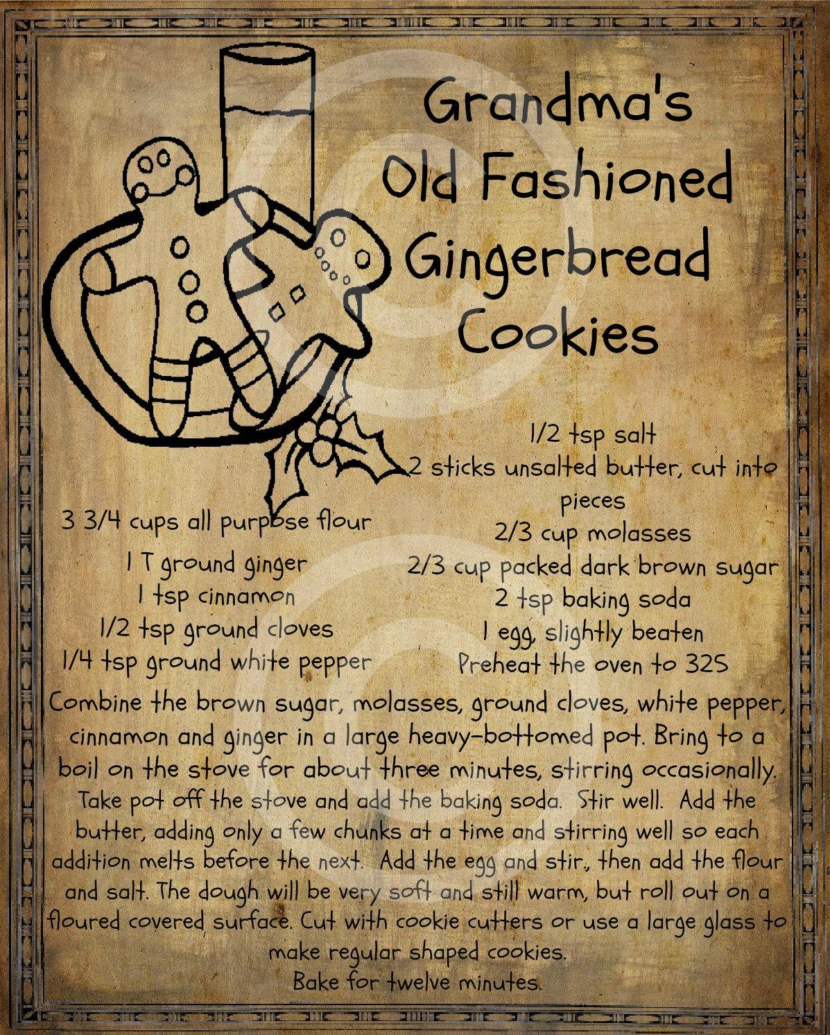 Primitive Gingerbread Man Cookie Recipe Pantry Logo Label Jpeg