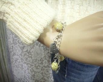 Removable Charm Bracelet, Hand Stamped Bracelet, Charm Bracelet, Heart Charm Bracelet, Yellow Charm Bracelet, Beaded Charm Bracelet