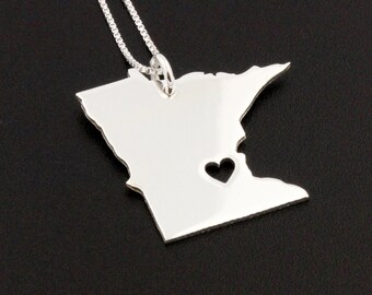 Minnesota necklace sterling silver Personalized Engraveable Minnesota state necklace with heart comes with Box chain - Hometown Jewelry