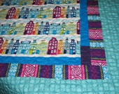 Sale! FINLAND baby quilt / quilted  blanket... using Heaven & Helsinki quilting fabrics... city, buildings... ready to ship