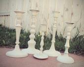 Upcycled Ivory set of 5 Candlesticks shabby cottage chic tapered candle holder wedding