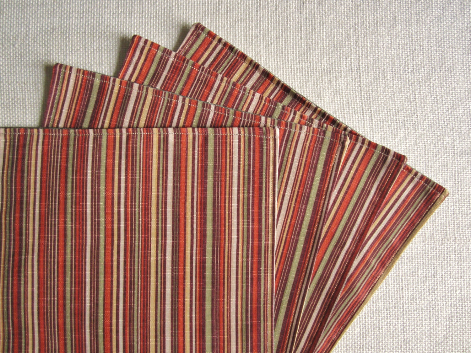 Modern fall placemats orange striped placemats set of 4 for Small square placemats