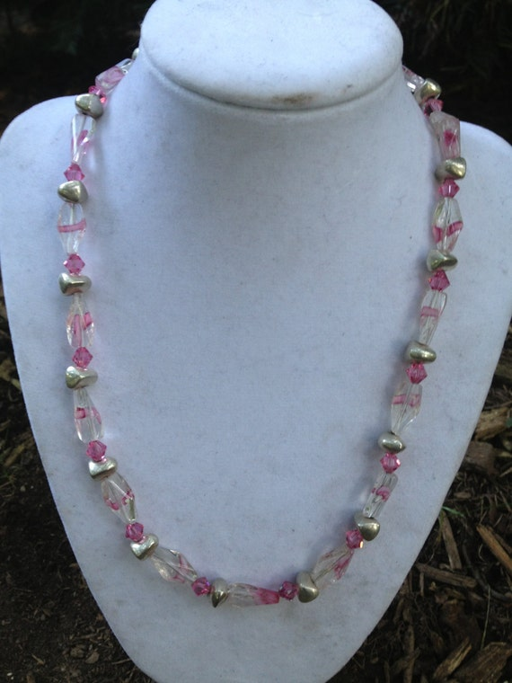 Pink Swirl Glass Bead Necklace