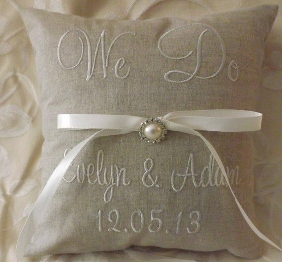 Monogram Wedding Ring Bearer Pillow: Personalized Embroidered Ring Bearer Pillow
