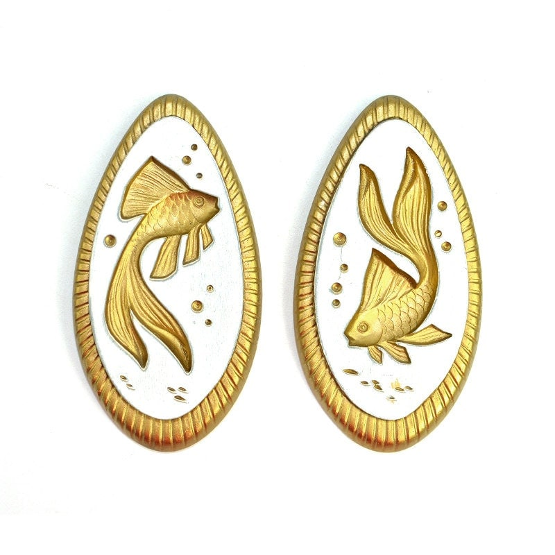 Koi Wall Décor In Gold Leaf : Koi fish wall hanging decor gold gilted pair of teardrop
