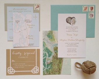 Custom Oyster Wedding Invitation Suite for H&B