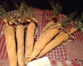 3 Primitive Grungy Easter  Spring Carrots Bowl filler Preserved Sweet Annie