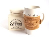 SALE - 30%OFF. Brown Knit Coffee Cozy. Knitted Brown Mug Cozy. Hand Knit Tea Cup Cosy.