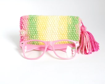SALE - 30%OFF. Lime and Pink Glasses Case. Knitted Sunglasses Case. Knit Eyeglasses Holder.