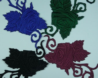 Embroidered Rose Motif / Patch / Badge / Applique - Lots of Colour Choices